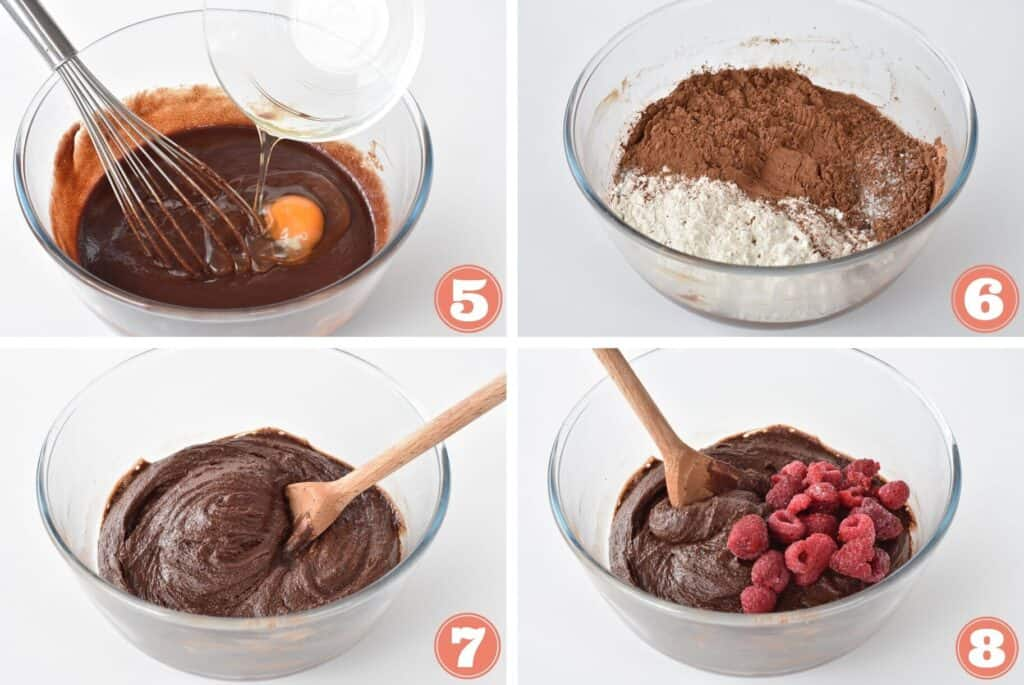 Collage of adding dry ingredients into batter.