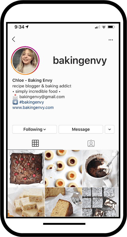 Baking Envy Instagram pictured on a smartphone.