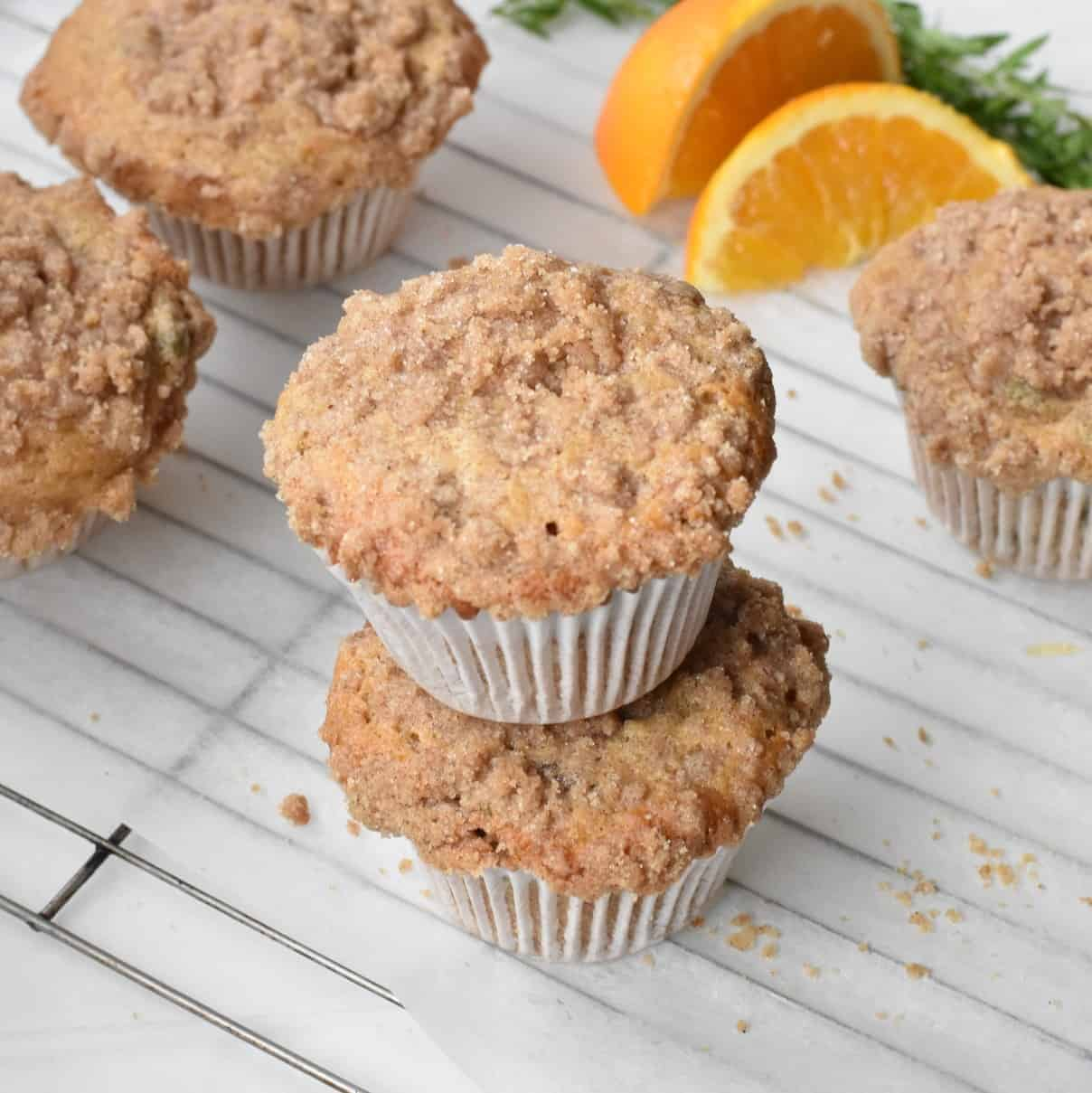 Breakfast Muffins with Cinnamon Streusel on wire rack.