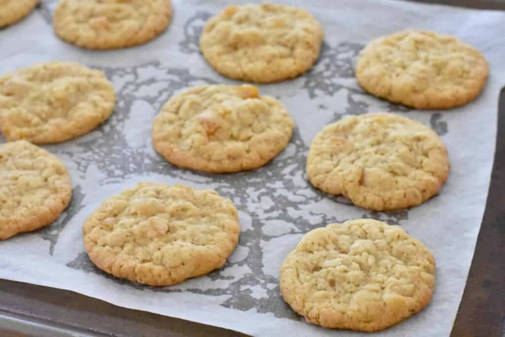 Baked apricot oatmeal cookies on tray.