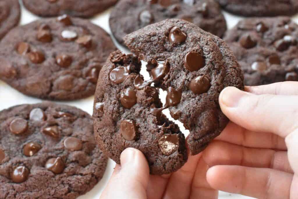 Double chocolate chip cookie being broken in half.