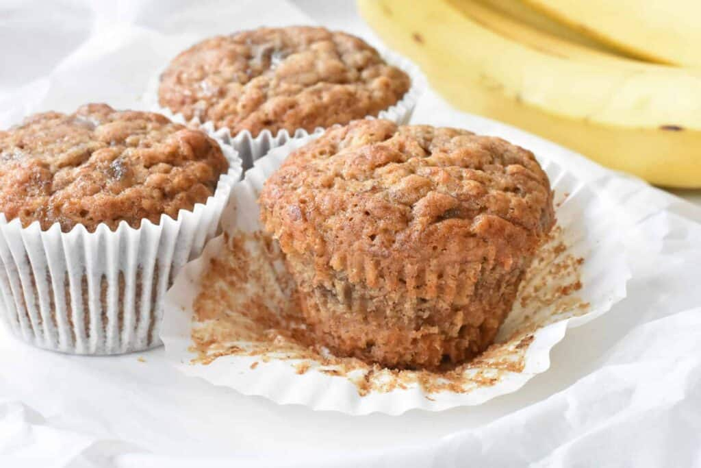 Easy banana muffin with paper casing taken off.