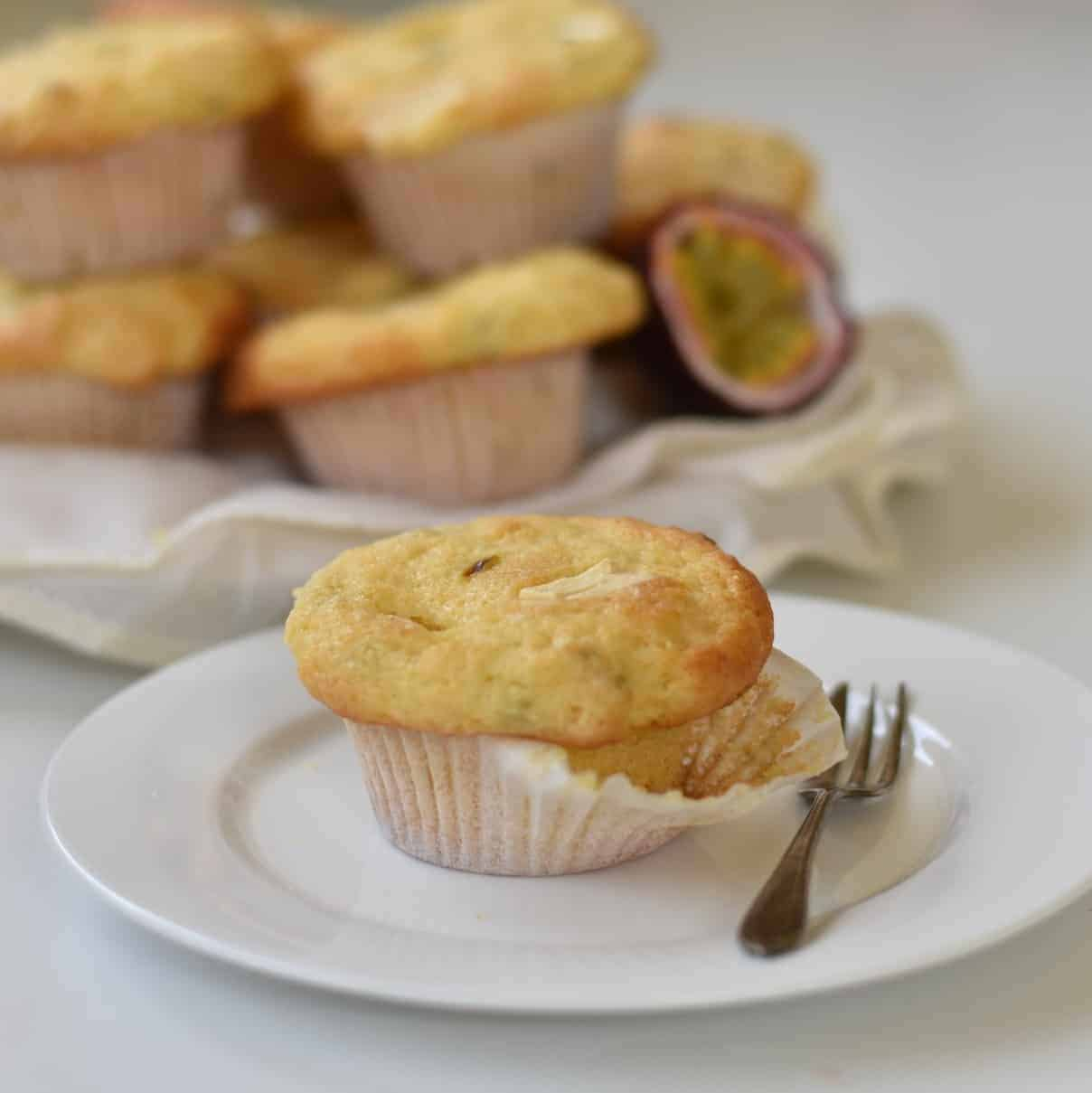 Passionfruit White Chocolate Muffin plated on display.