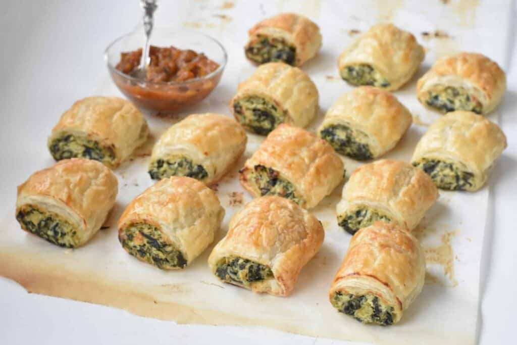 Spinach Ricotta Rolls with tomato relish.