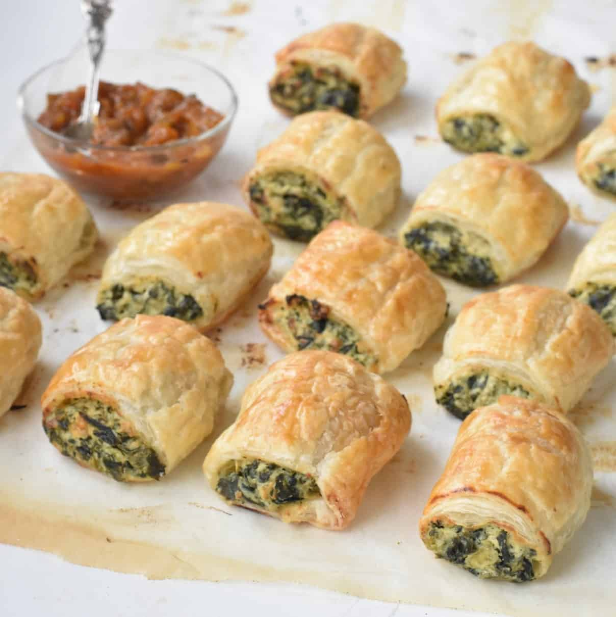 Spinach Ricotta Rolls on a baking tray.
