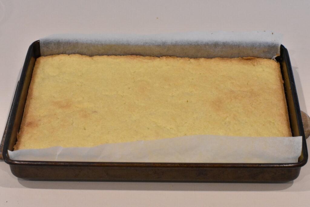 Baked slice base in tin.