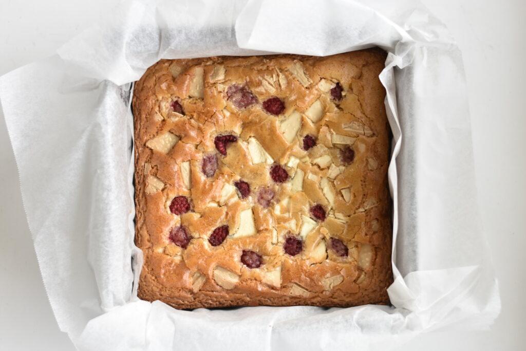 Overhead image of blondies in baking tin.