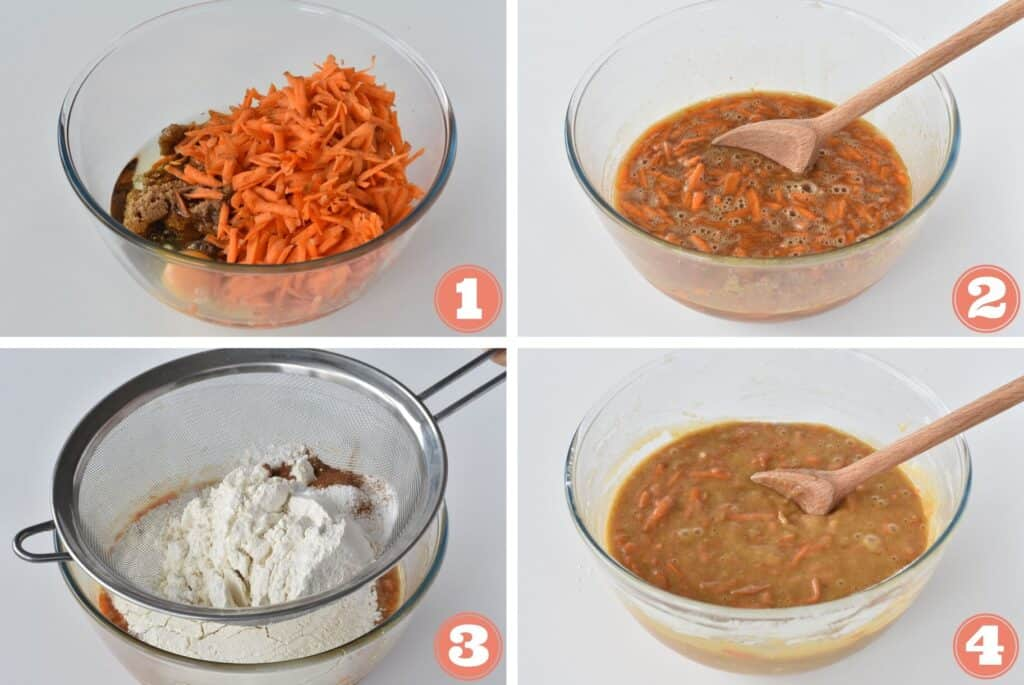 Step by step combining dry and wet ingredients.