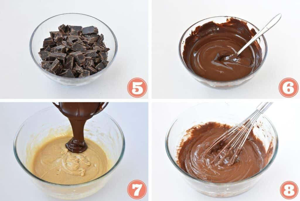 Chocolate being melted and added to batter.