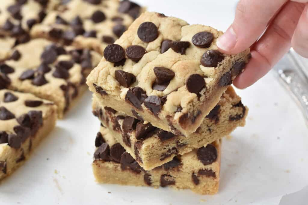 Stack of chocolate chip cookie bars.