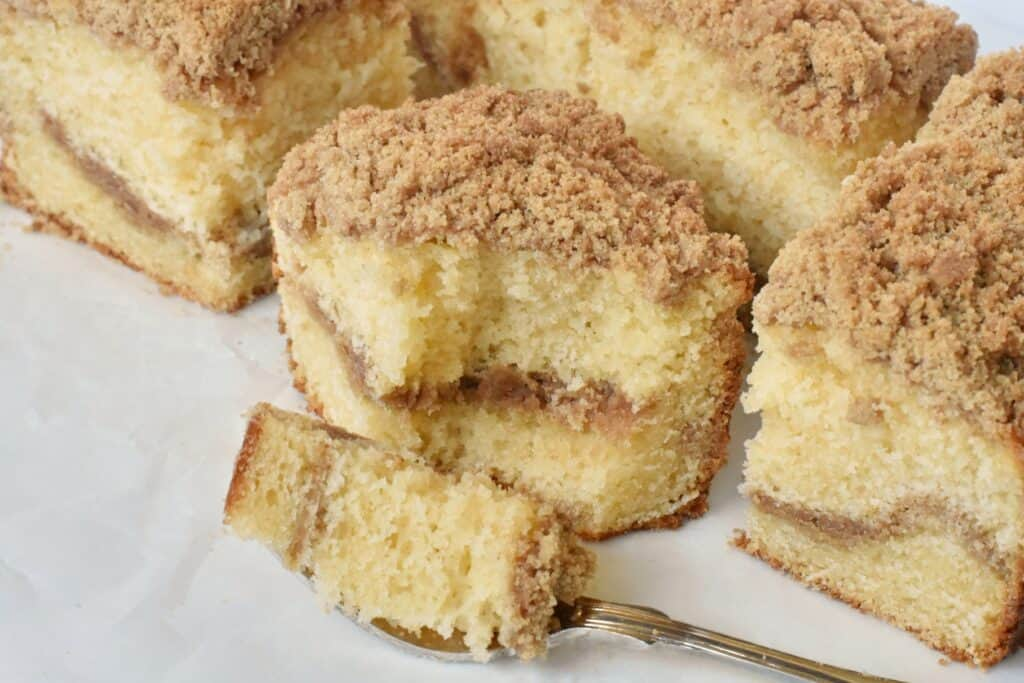 Slice of coffee cake with fork.