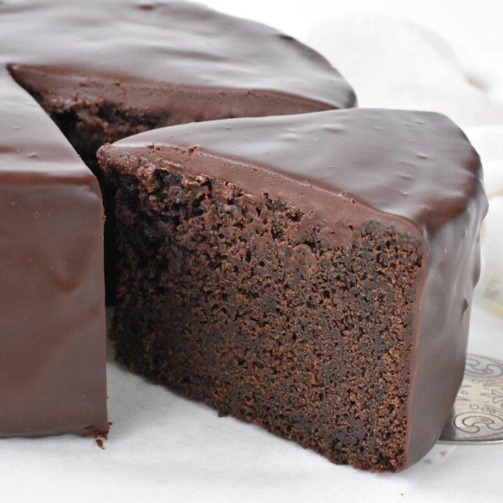 Slice of the Ultimate Chocolate Mud Cake on Server.