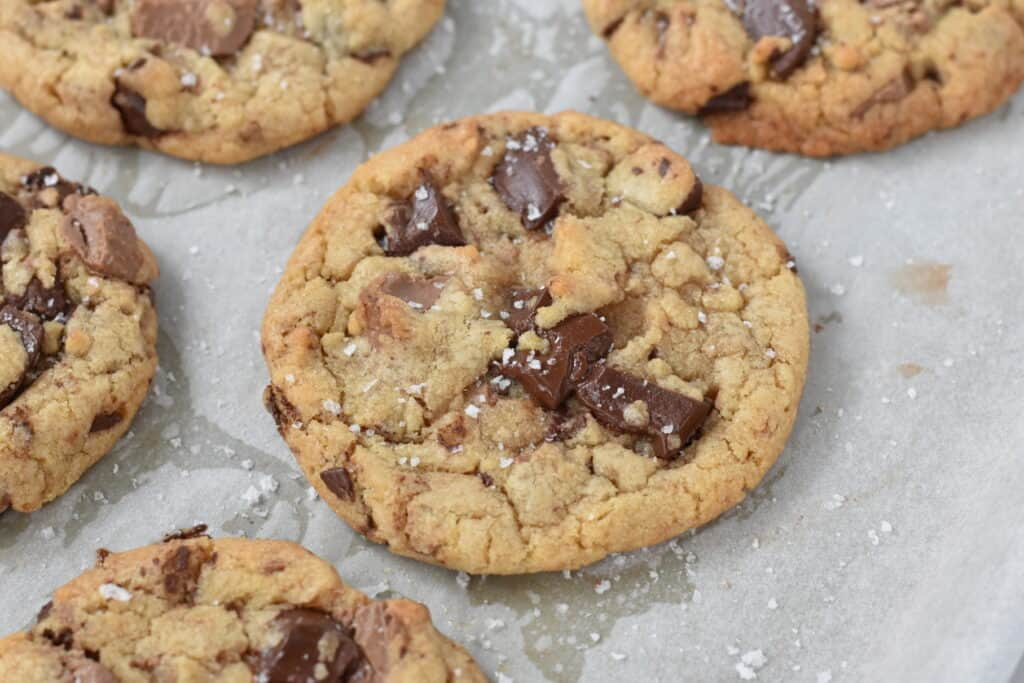 Cookies Sprinkled with Salt on Baking Tray.