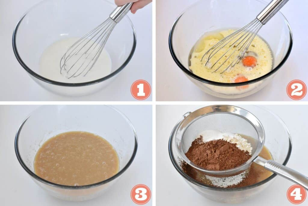 Step by step photos of chocolate cake being prepared.