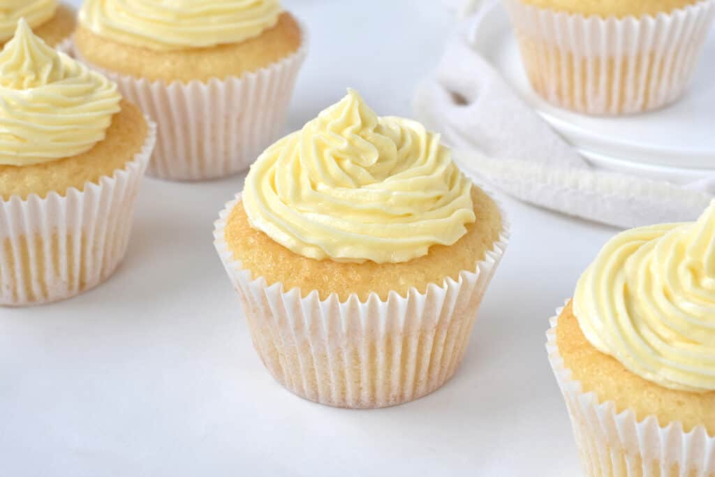 Vanilla Cupcake with Frosting.