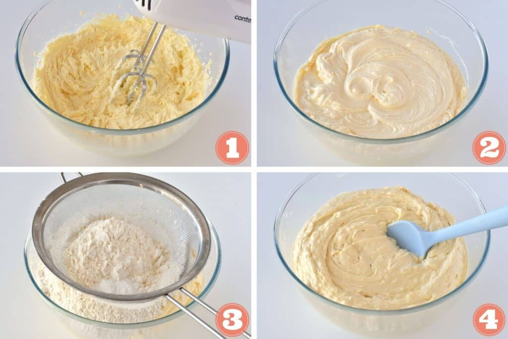 Collage of creaming butter and adding flour.