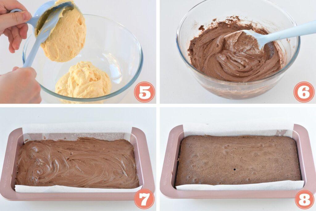 Collage of baking chocolate cake.