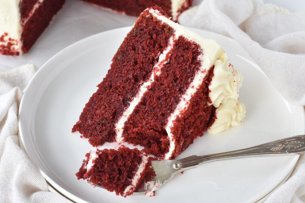 Red Velvet cake with Fork on Plate