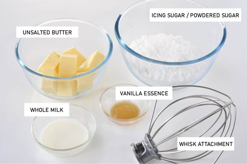 Buttercream ingredients with labels