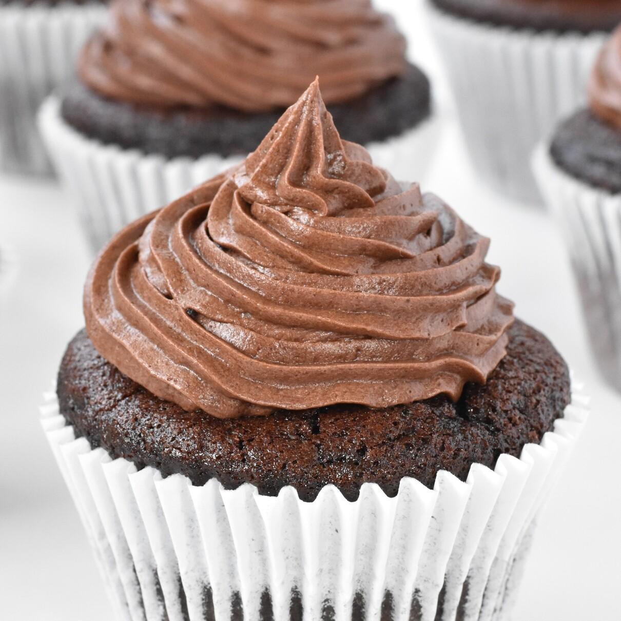 Chocolate buttercream on chocolate cupcake