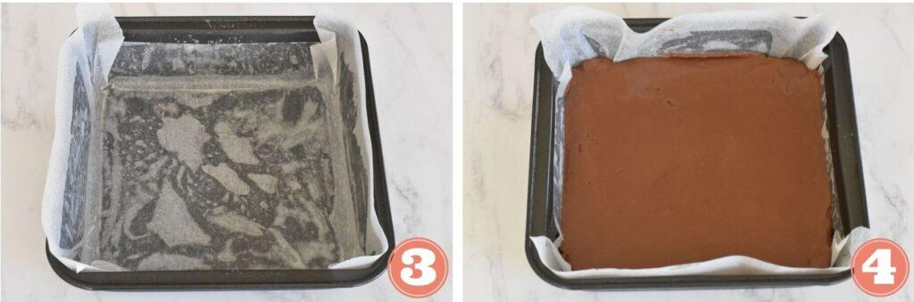 Pouring nutella fudge in tin
