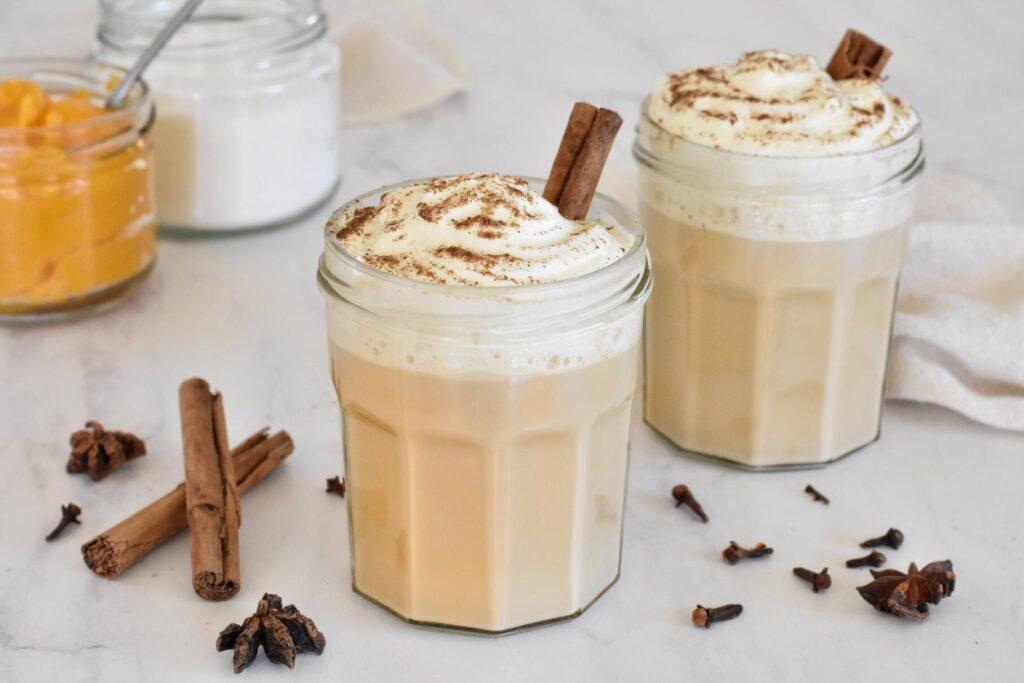Pumpkin Spice Latte in jars.