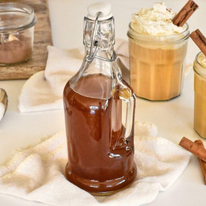 Pumpkin spice syrup in bottle
