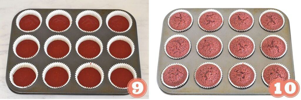 Cupcakes in tray before and after baking.