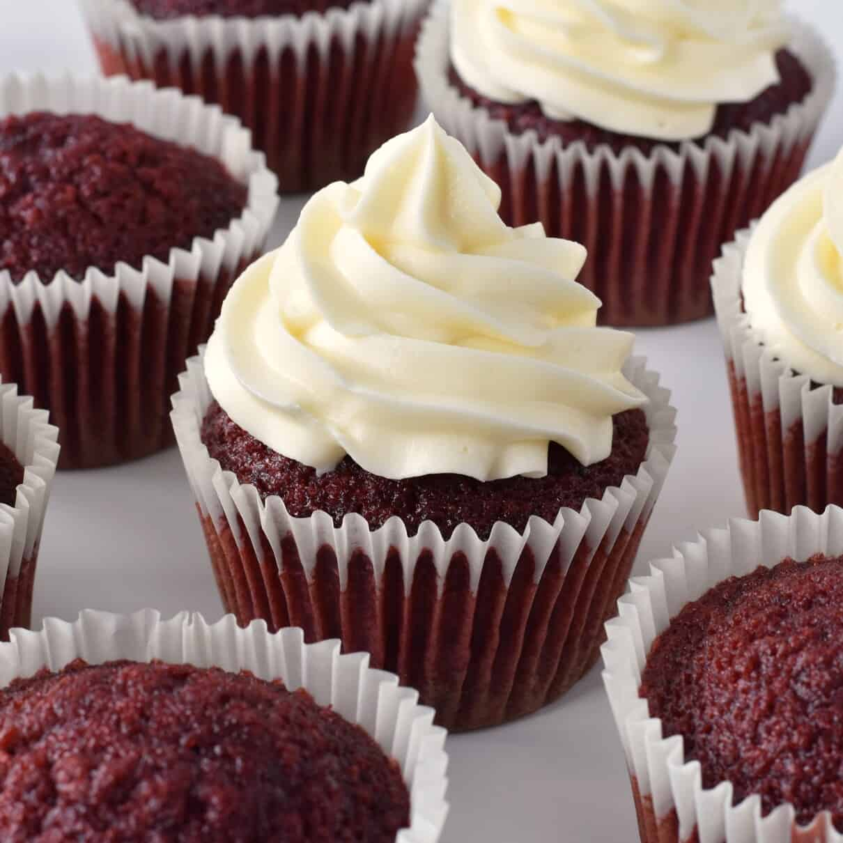 Red Velvet Cupcakes with Frosting.