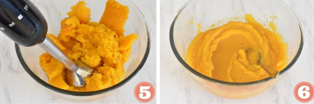 Pumpkin being blended collage